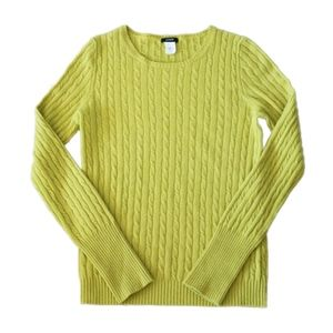 J. Crew Cambridge Cable Knit Yellow Sweater